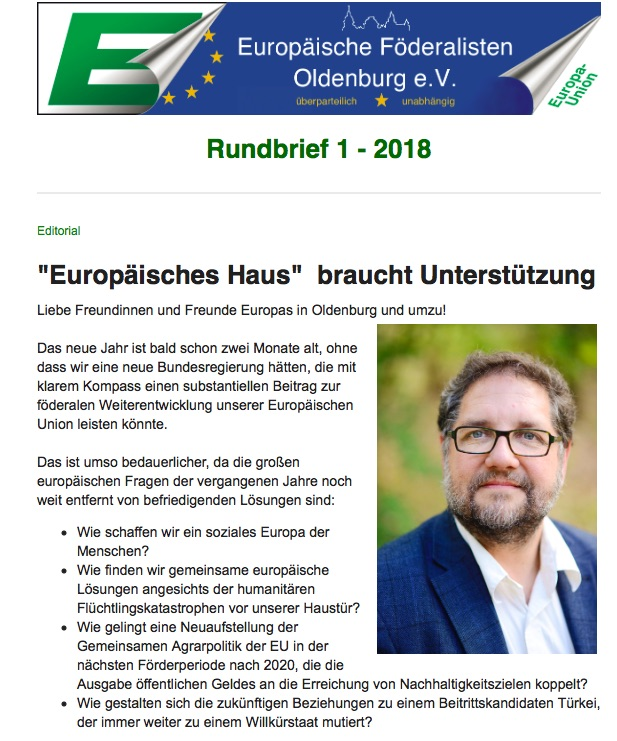 Rundbrief Europäische Föderalisten Oldeburg 18-01