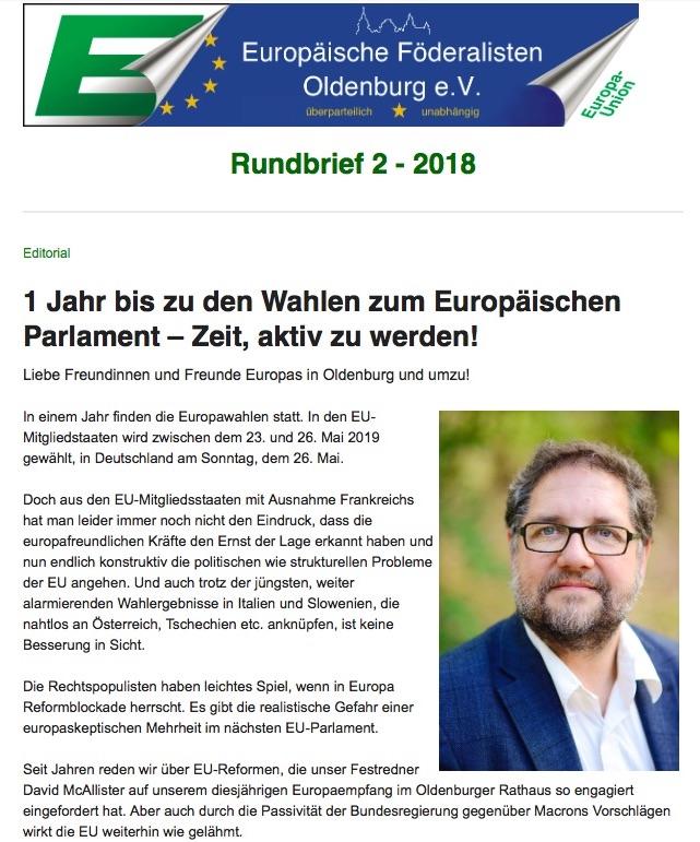 Europäische Föderalisten Oldenburg Rundbrief 2-18